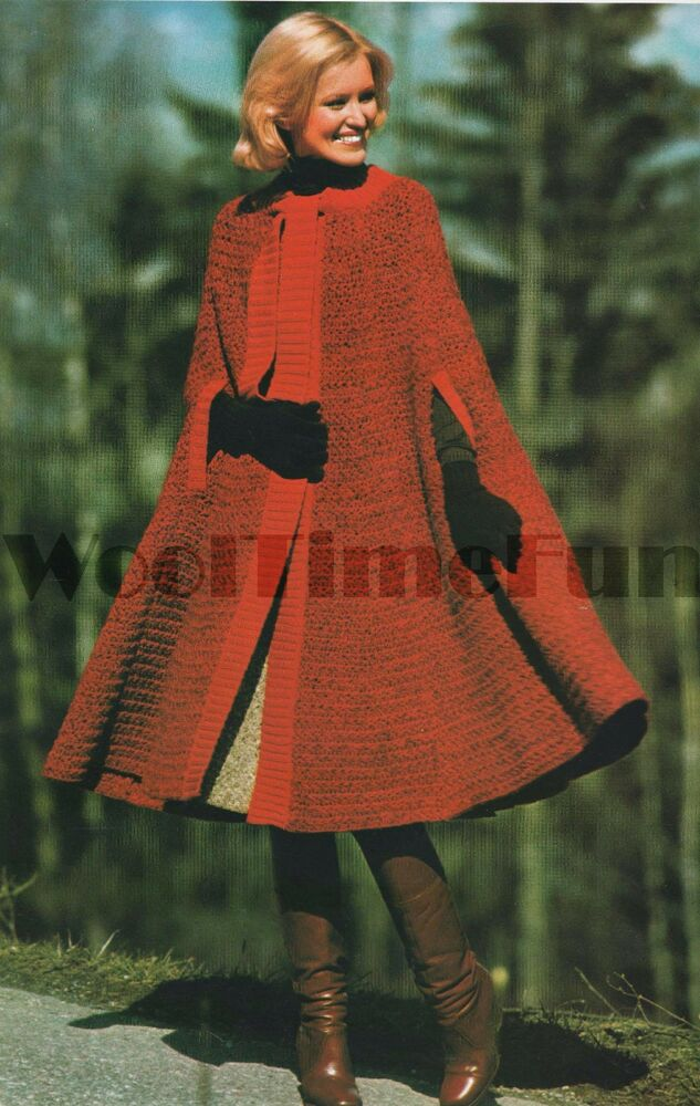 Vintage Crochet Pattern  Instructions Lady U0026 39 S Cape  Coat
