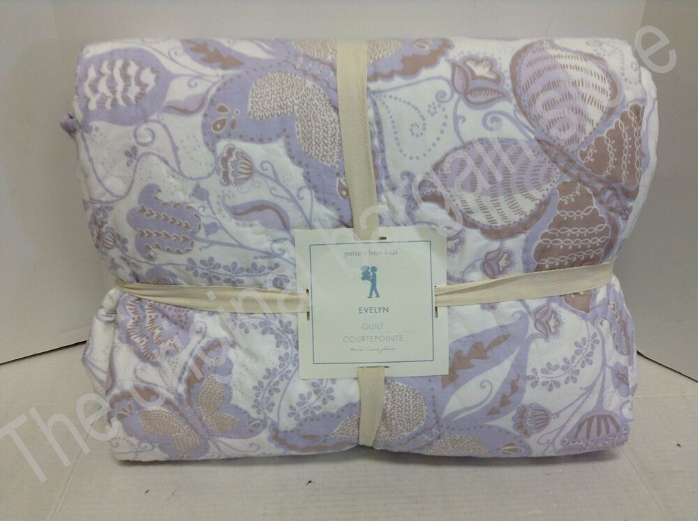 Nwt Pottery Barn Kids Evelyn Twin Bed Cotton Quilt Purple