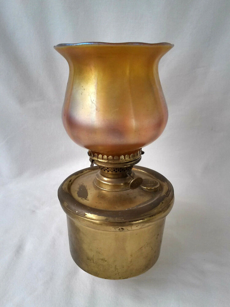 antique miller lamps brass wall sconce w carnival glass shade ebay. Black Bedroom Furniture Sets. Home Design Ideas