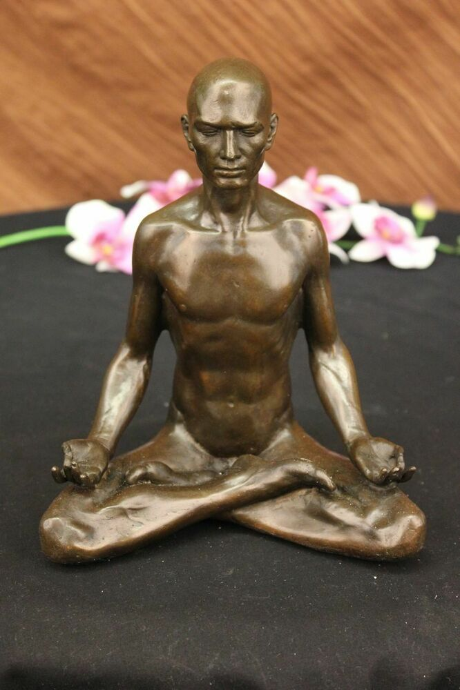 bronze sculpture hand made statue art nouveau man yoga. Black Bedroom Furniture Sets. Home Design Ideas