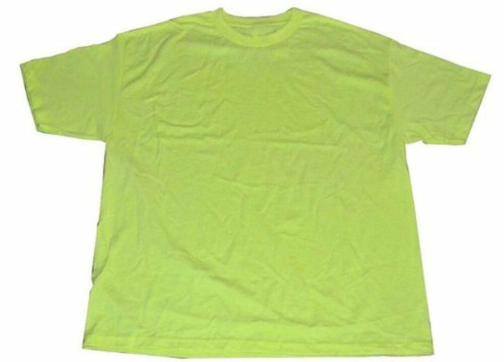 Pack of 6 aaa tshirts safety neon yellow xlarge solid for Plain t shirt pack