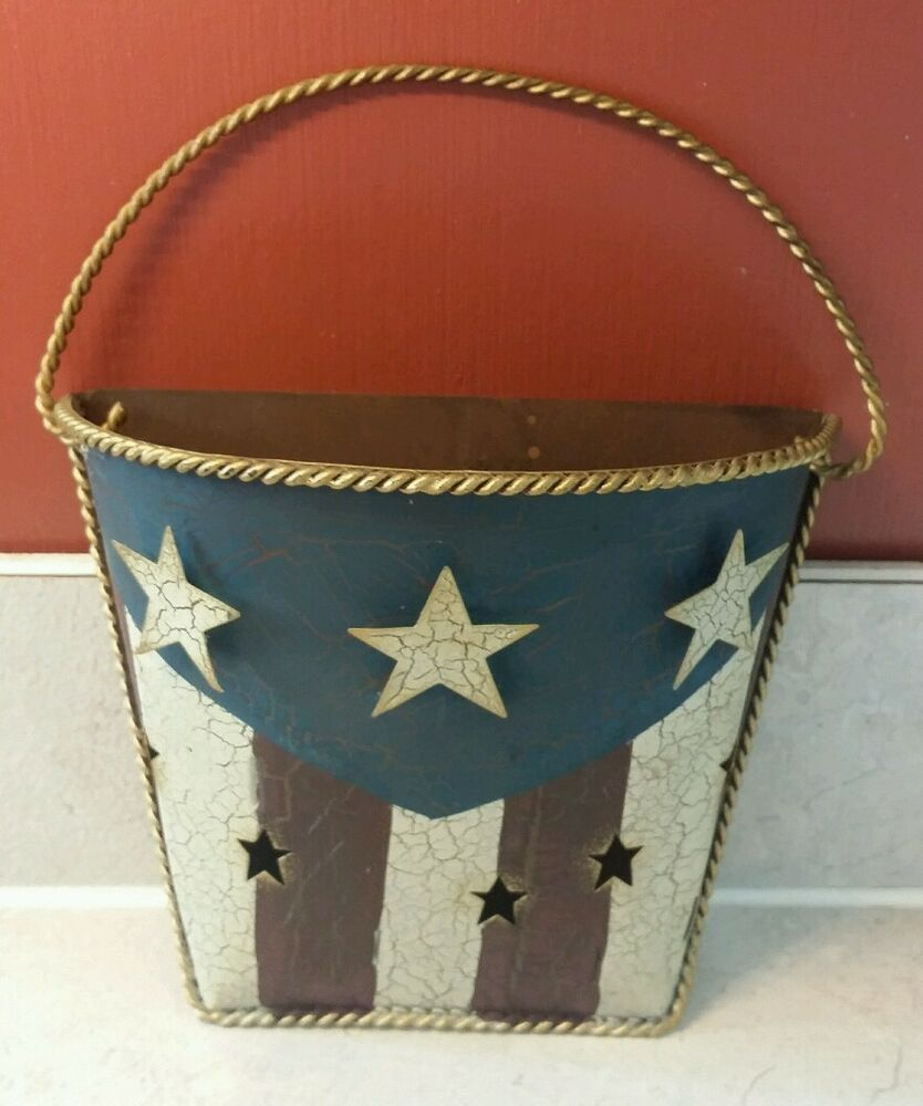 Blue Star Wall Decor : Americana decor red white blue metal wall hanging stars