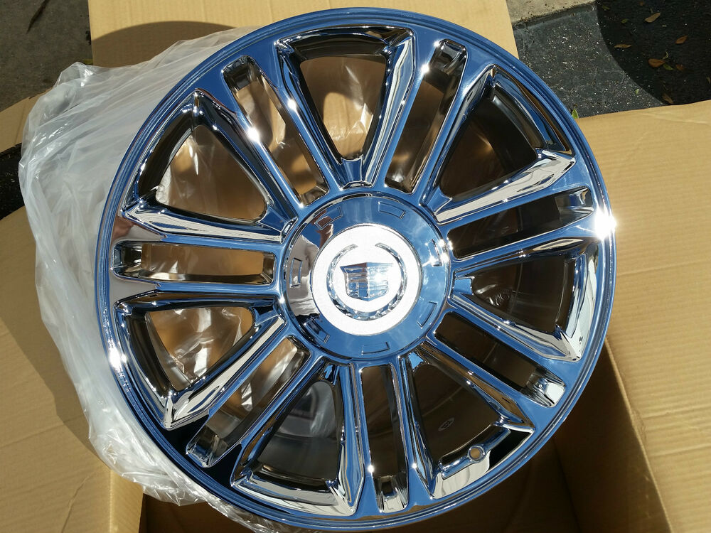 "Four Wheeler With Rims: 22"" Cadillac Escalade Platinum 4 Wheels 5358 Chrome Rims"