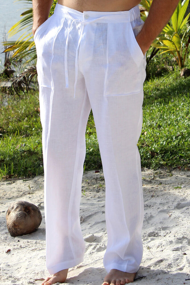 Mens Linen Drawstring Pants | eBay