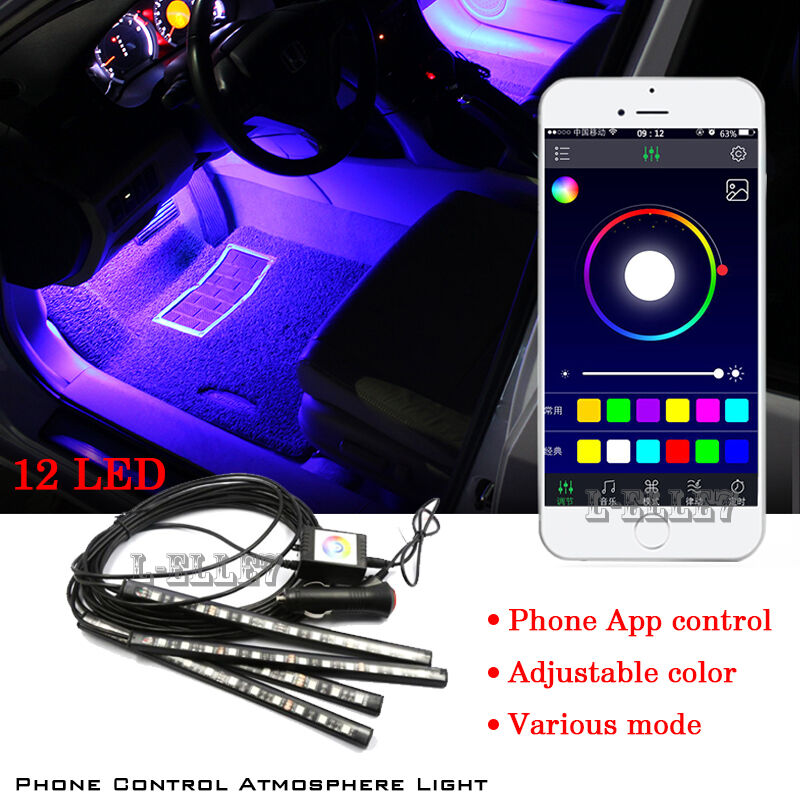 new 12led car decorative lights interior foot mood light with phone app control ebay. Black Bedroom Furniture Sets. Home Design Ideas