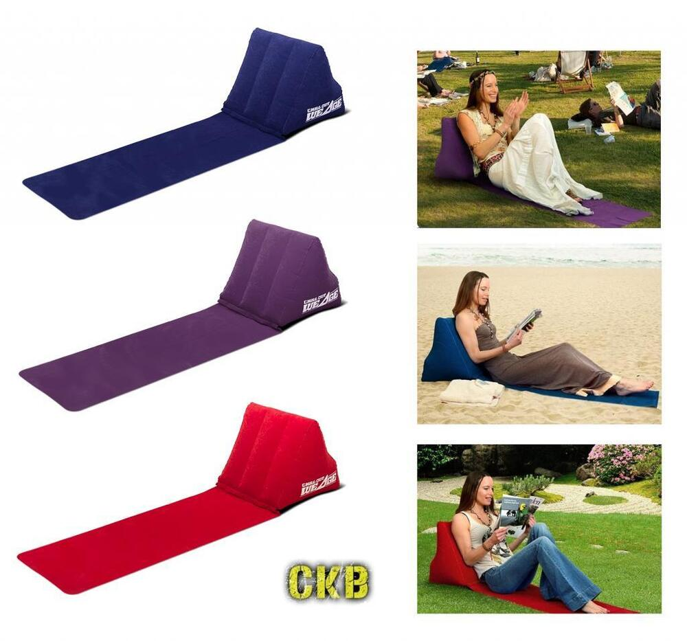 Outdoor Inflating Beach Camping Lounger Back Pillow Cushion Chair Air Bed