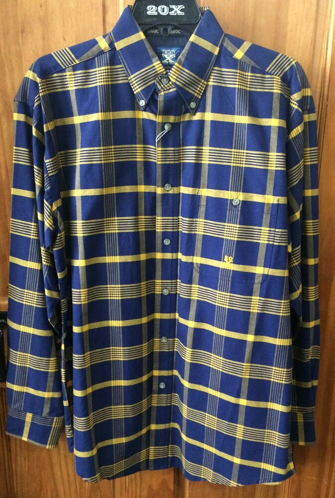 Wrangler Twenty X Mens Yellow Navy Plaid Button Up Long