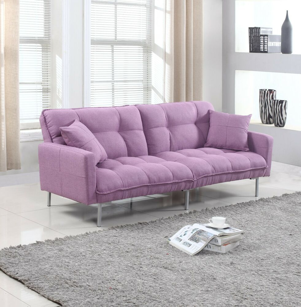 Designer Futons: Modern Plush Tufted Linen Fabric Splitback Living Room