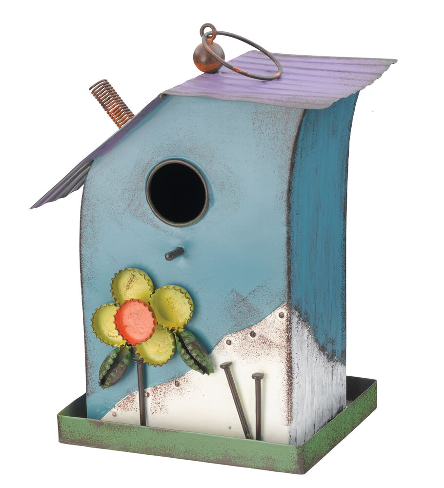 Folk Bird House Blue Metal Home Garden Decor Regal Art
