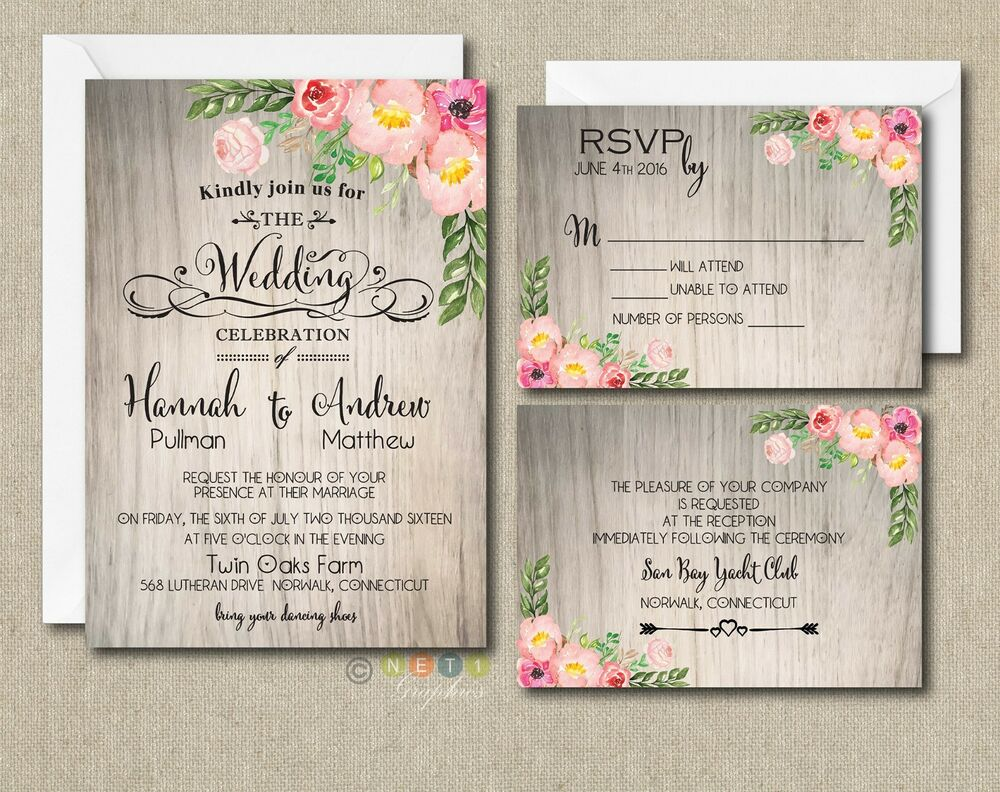 100 Wedding Invitations: 100 Personalized Watercolor Rustic Floral Botanical
