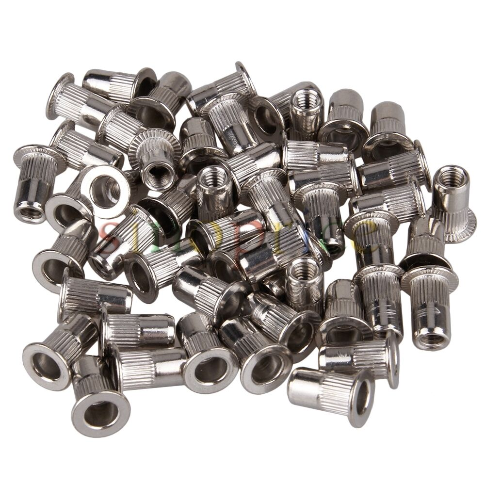 Kit Of 50 Flat Head Stainless Steel M4 Fastener Rivnut