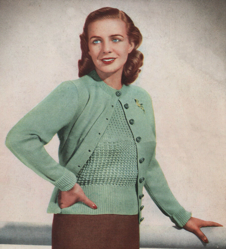 Knitting Lady At Guillotine : Vintage knitting pattern lady s jumper cardigan
