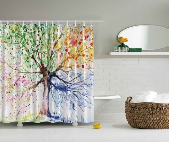 green pink yellow blue brown tree leaves geometric fabric shower curtain 70 ebay. Black Bedroom Furniture Sets. Home Design Ideas