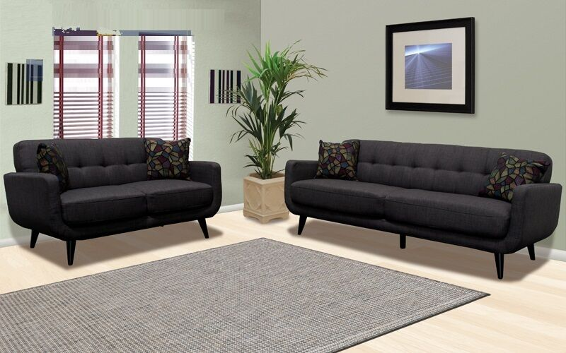 2 Piece Sofa Set Sofa Loveseat In Dark Charcoal Color For
