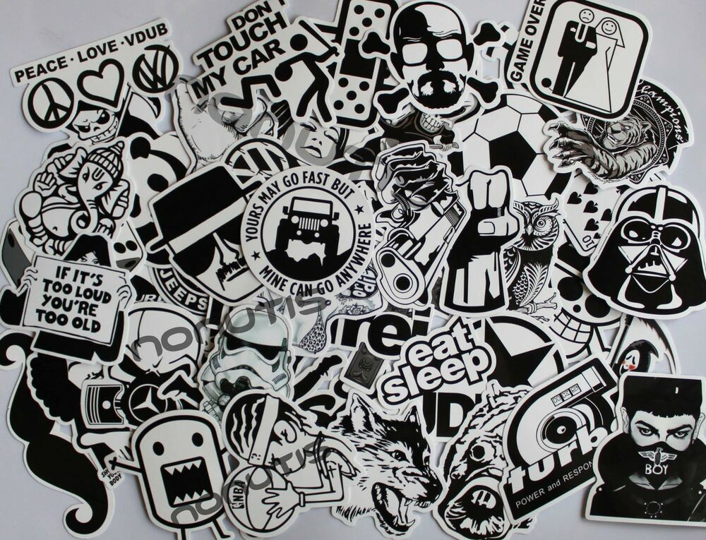 50 black and white sticker bombing pack sticker bomb vinyl. Black Bedroom Furniture Sets. Home Design Ideas