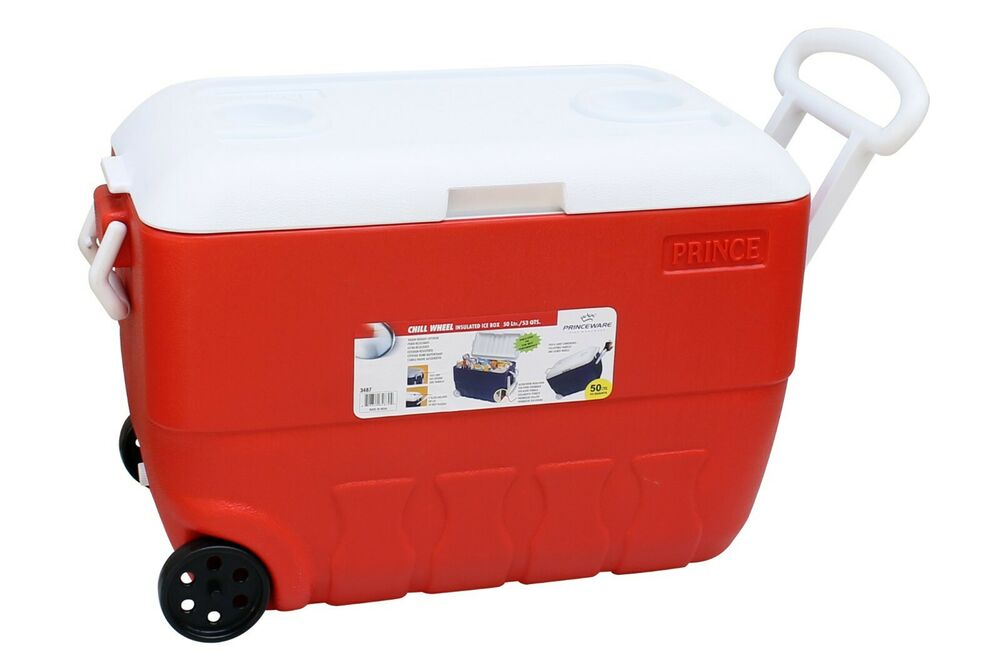 60L COOLBOX RED OR BLUE COOLER BOX WITH WHEELS PICNIC ICE FOOD INSULATED  TRAVEL | eBay
