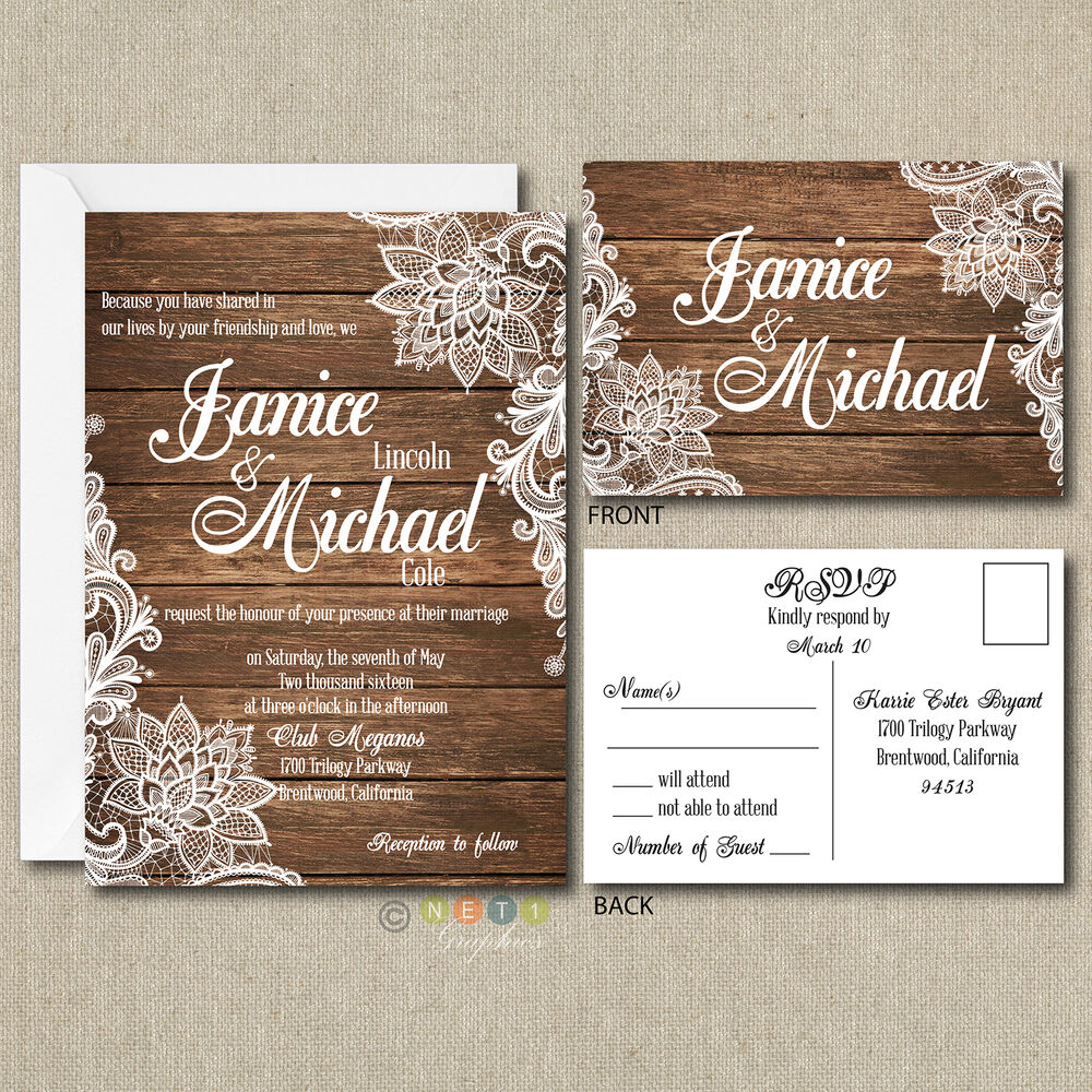 Wedding Invitation Postcard: 100 Personalized Country Rustic Lace Wedding Invitations