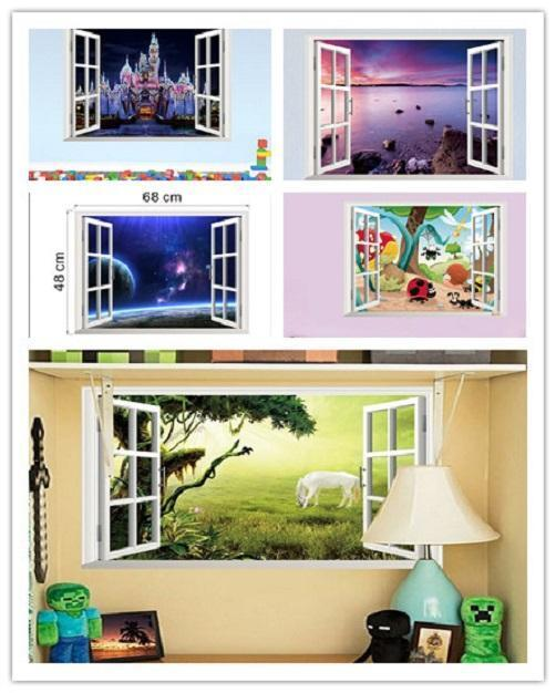 Window 3d wall sticker removable decal wallpaper home for Home wallpaper ebay