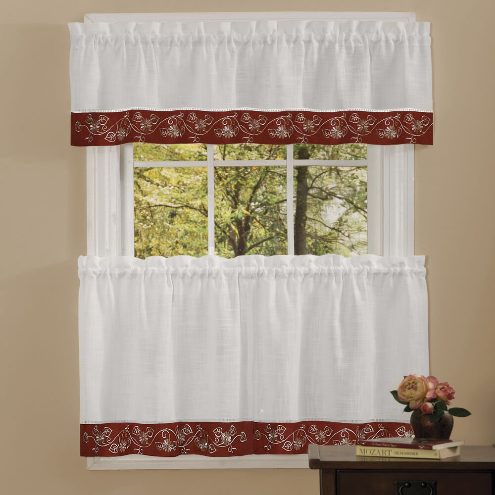Rosemary Linen Kitchen Curtain Swag: Oakwood Linen Style Kitchen Window Curtains Tiers Or