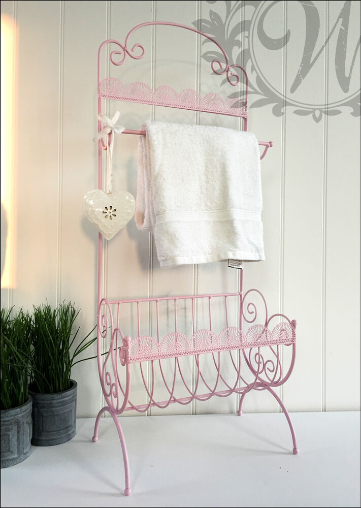 Towel holder rail ornate vintage white bathroom antique for Shabby chic towel stand