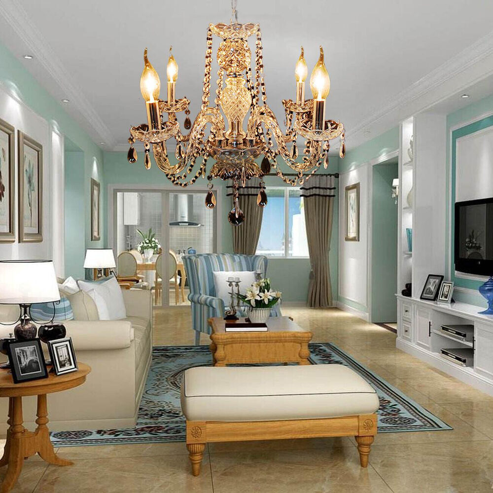 elegant crystal chandelier modern ceiling light 4 lamp pendant fixture
