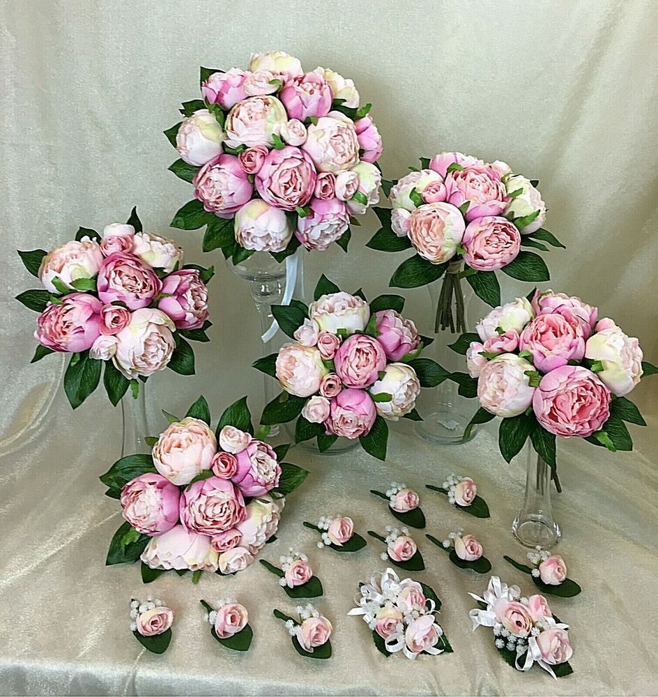 Real Vs Fake Flowers Wedding: Light Pink/ Pink Peony Artificial Silk Flowers Wedding