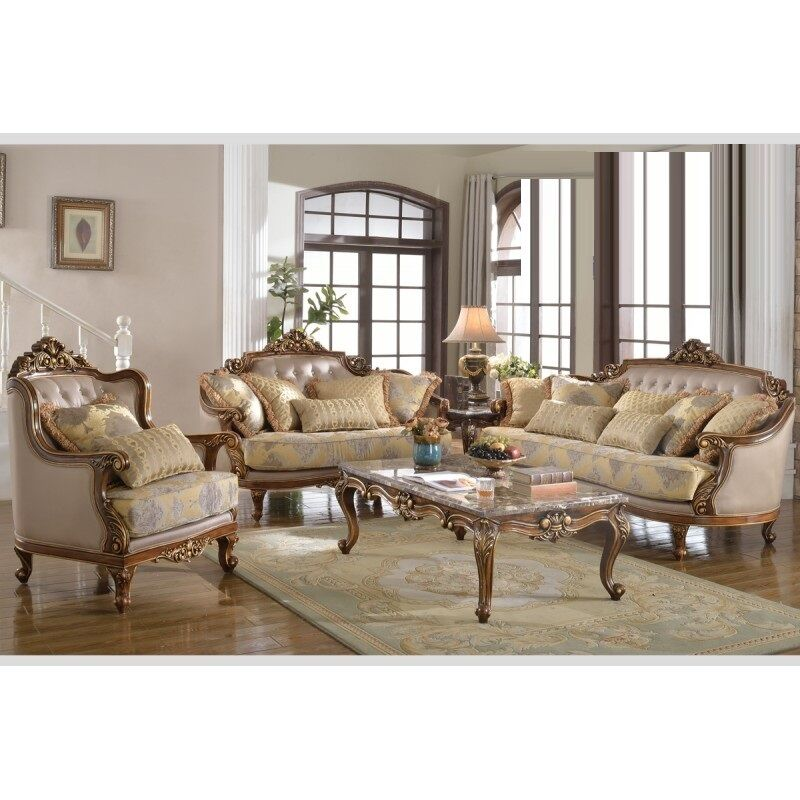 Formal antique sofa loveset chair 3pc traditional light for Formal sofa sets