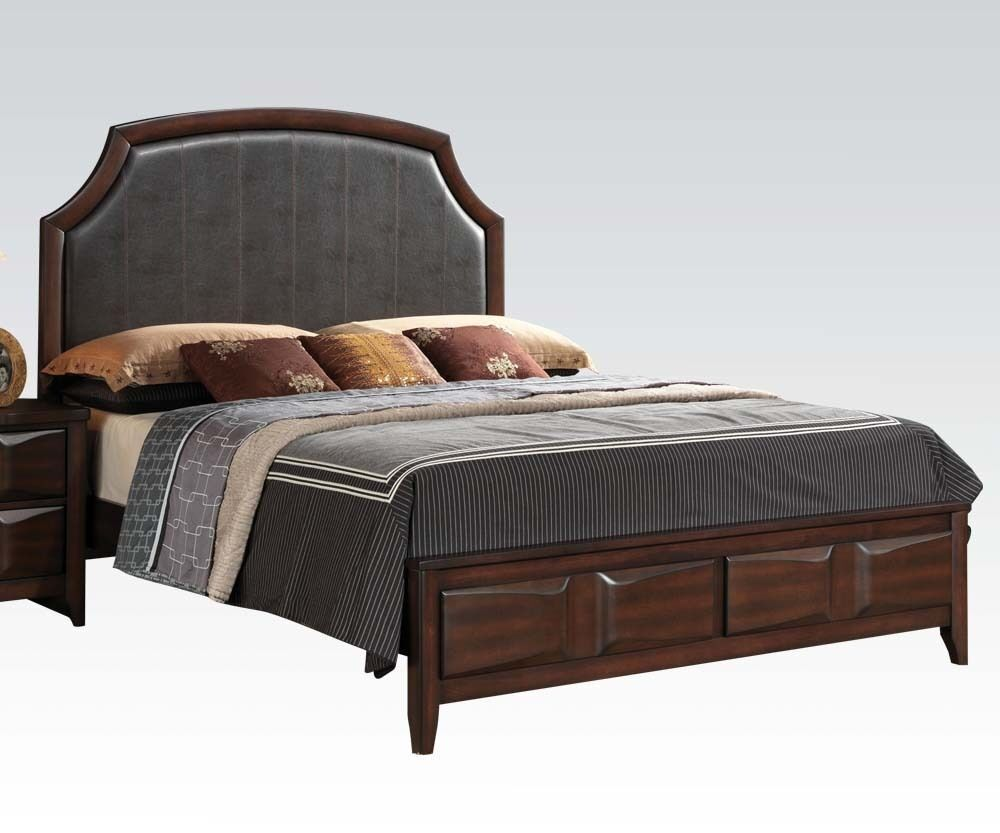 Lancaster espresso brown pu 1 piece queen est king size for Queen size bedroom furniture