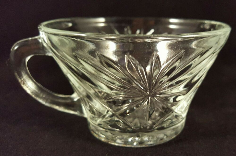 Vintage starburst style punch bowl replacement cups clear glass 8 available ebay - Starburst glassware ...