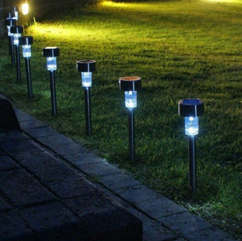 10pcs white led solar lawn light garden outdoor landscape stake path