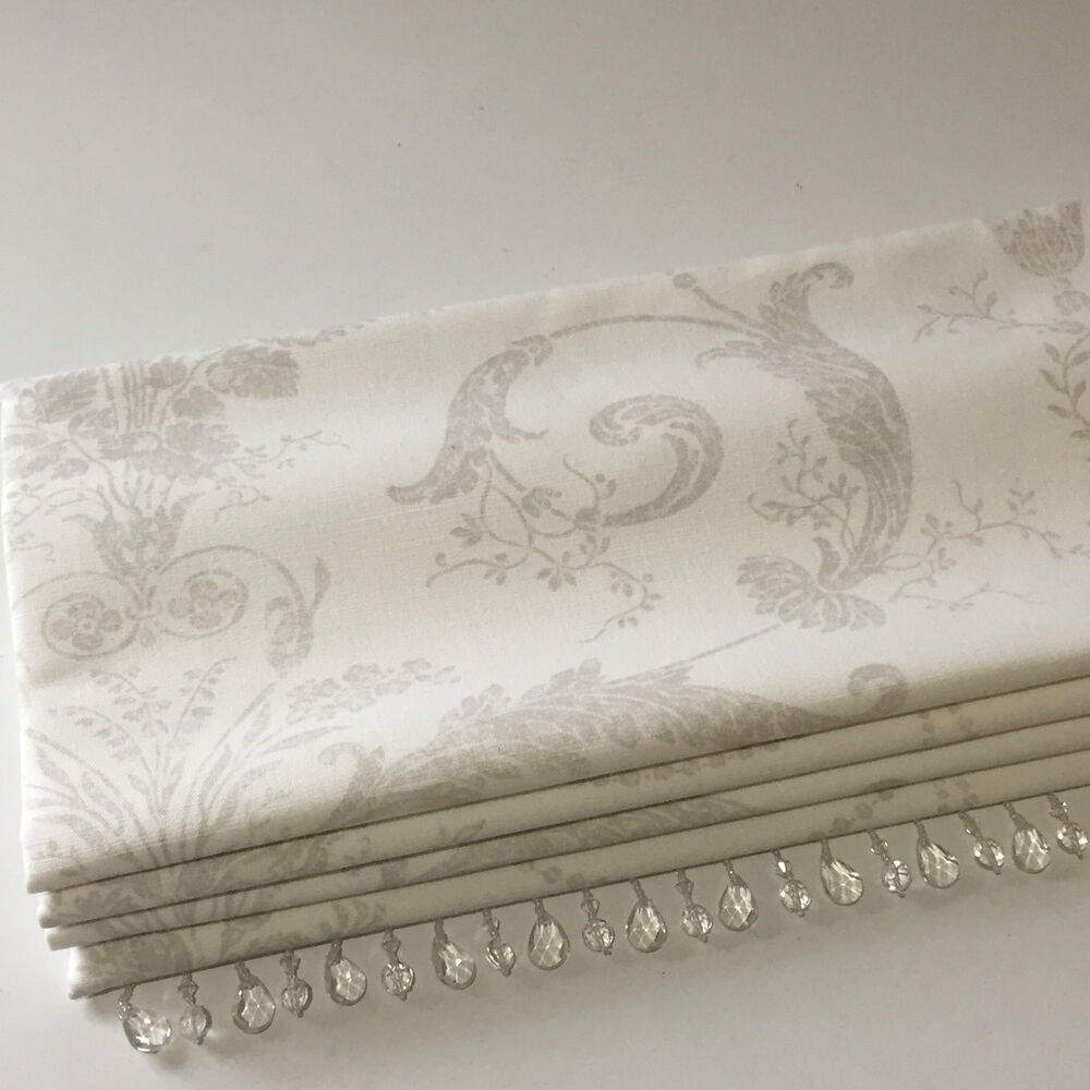 New Laura Ashley Josette Toile Truffle Linen Fabric Beaded