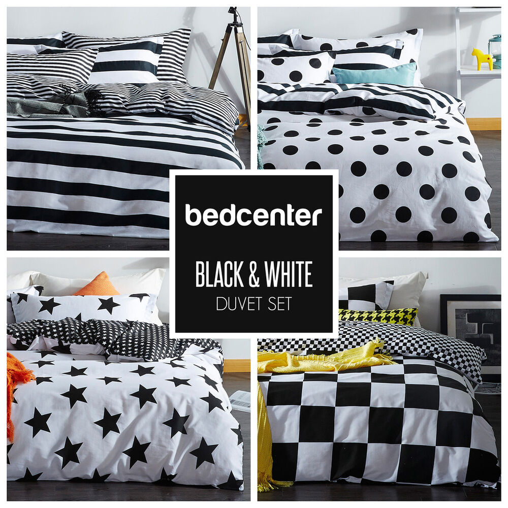 black white duvet cover set twin queen king 4 piece bedding set 100 cotton ebay. Black Bedroom Furniture Sets. Home Design Ideas