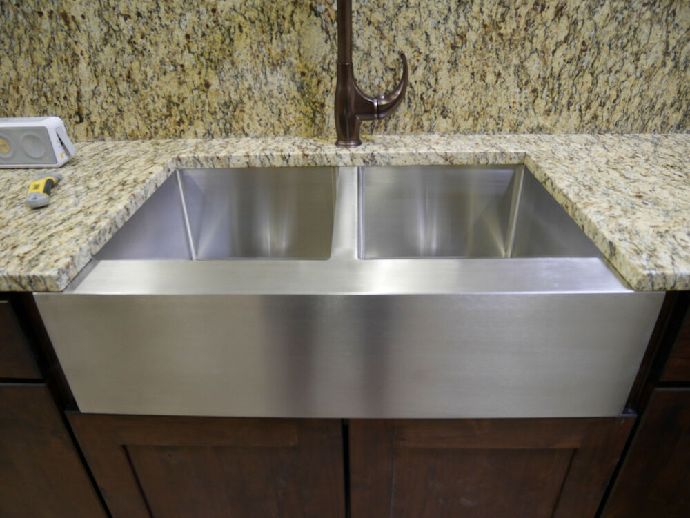 36 stainless steel farmhouse front apron double bowl kitchen sink ebay - Kitchen sinks apron front ...