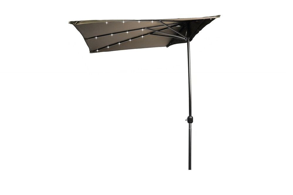 led patio half umbrella with rectangular design by trademark
