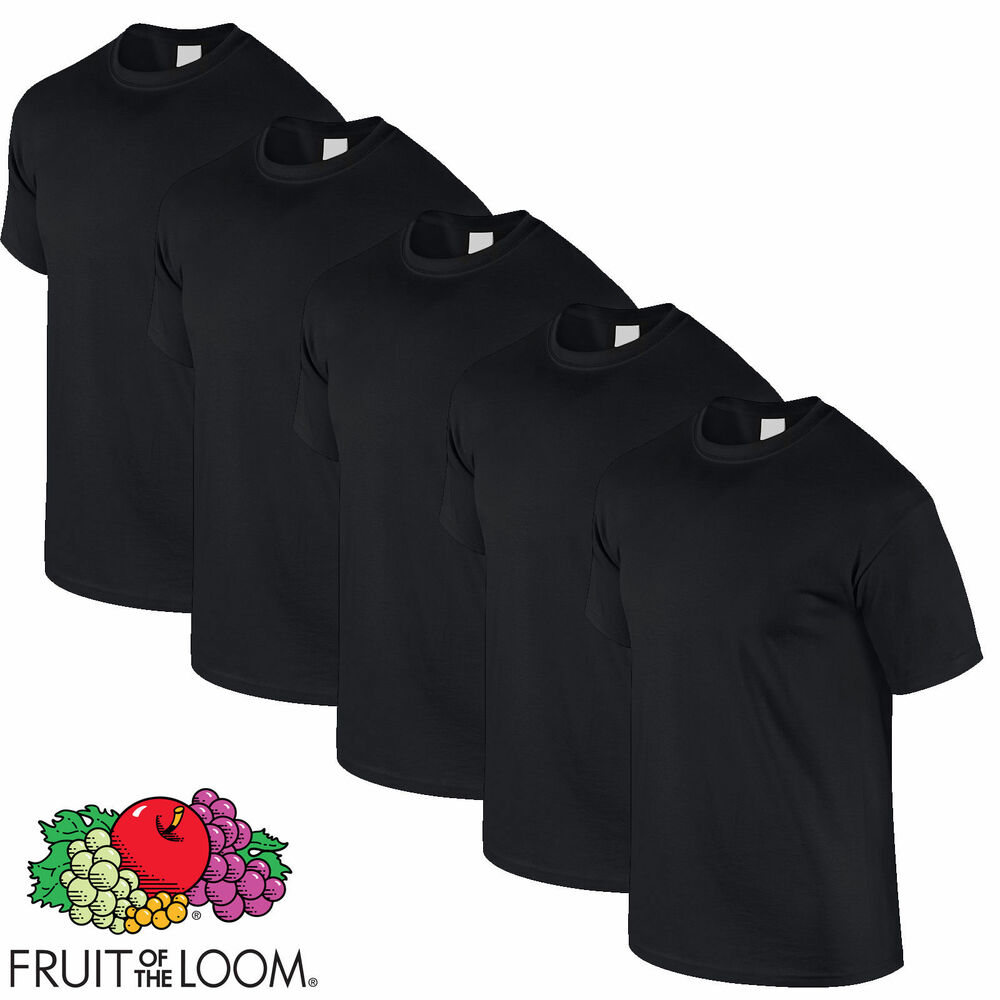 fruit of the loom 5 pack heavy weight plain black t shirt. Black Bedroom Furniture Sets. Home Design Ideas