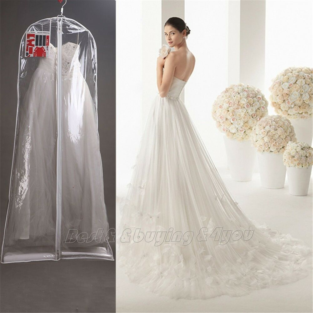 1x clear wedding dress cover storage bags dustproof large for Storing wedding dress in garment bag