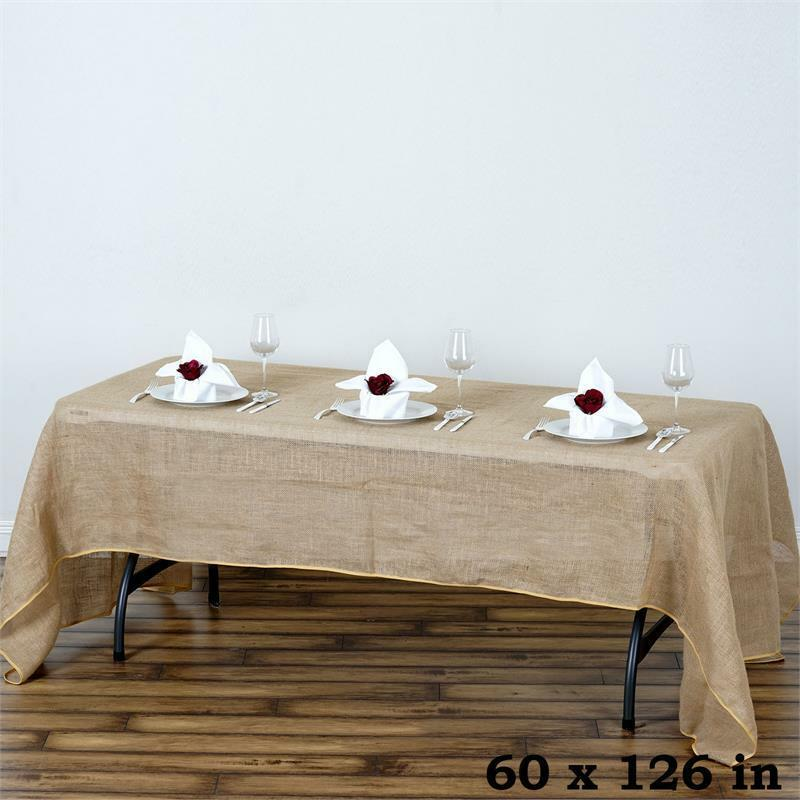 Natural burlap 60x126 rectangle tablecloth country for Where can i buy table linens
