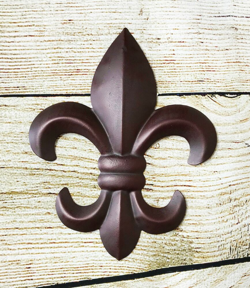 6 In X In Plaque Brown Metal Tin Fleur De Lis Wall
