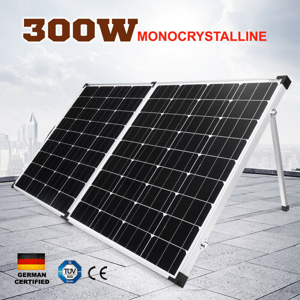 300w Folding Solar Panel Kit 12v Boat Camping Power Mono