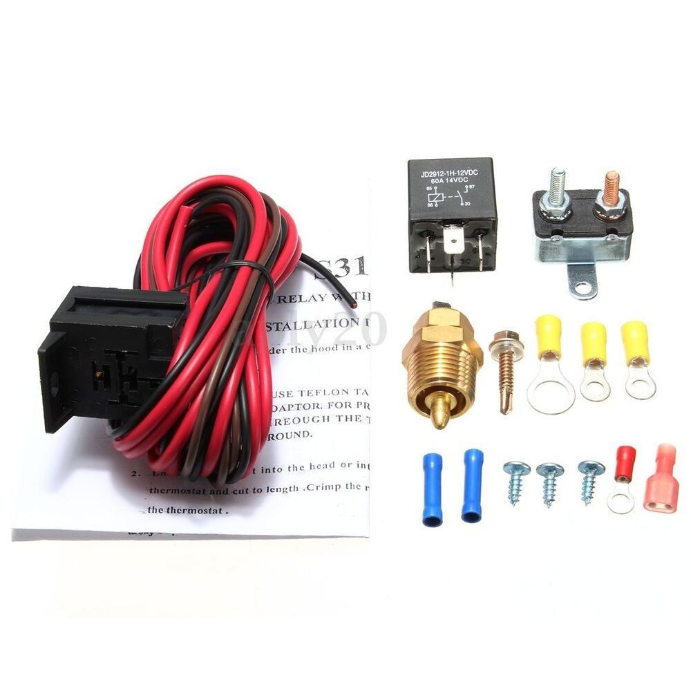 175 185 degree engine cooling fan thermostat kit temperature switch sensor relay ebay. Black Bedroom Furniture Sets. Home Design Ideas
