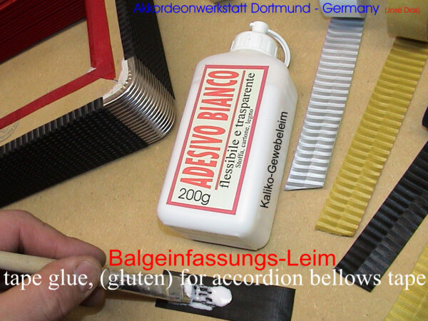 Kleber für Akkordeon Balgstreifen, kaliko leim, gluten for accordion bellow tape