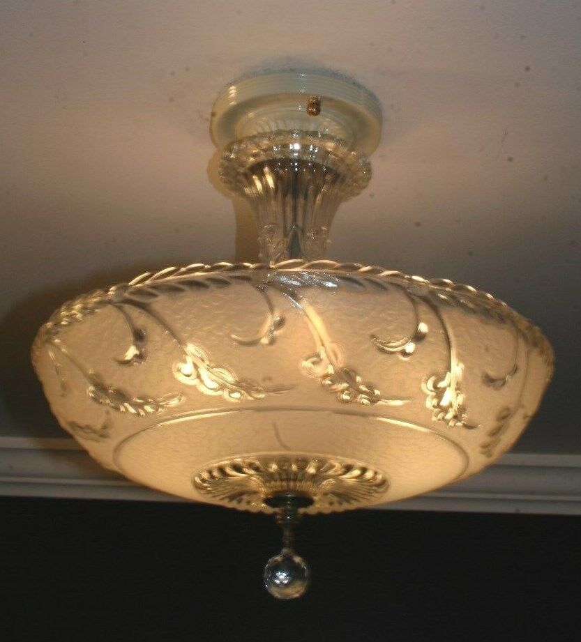 Antique Semi Flush Frosted Glass Art Deco Light Fixture