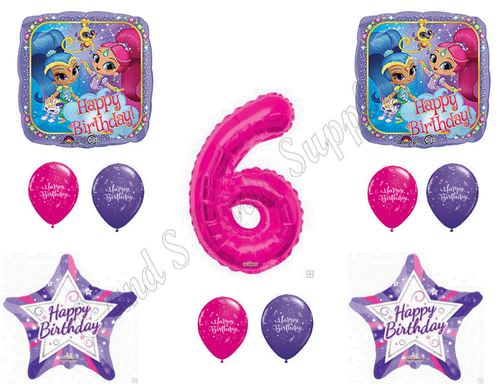 Shimmer and shine 6th sixth birthday party balloons for Balloon decoration equipment