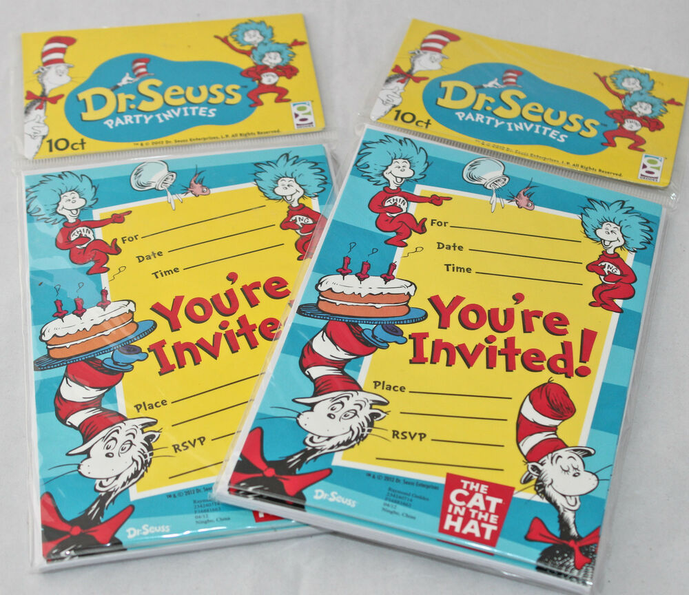 Dr Seuss Cat in the Hat Birthday Invitations Party Favors 2 Packs 20 Total