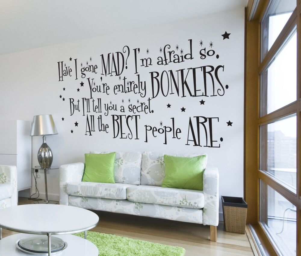 Alice in wonderland mad hatter quote large wall sticker for Decor mural wall art