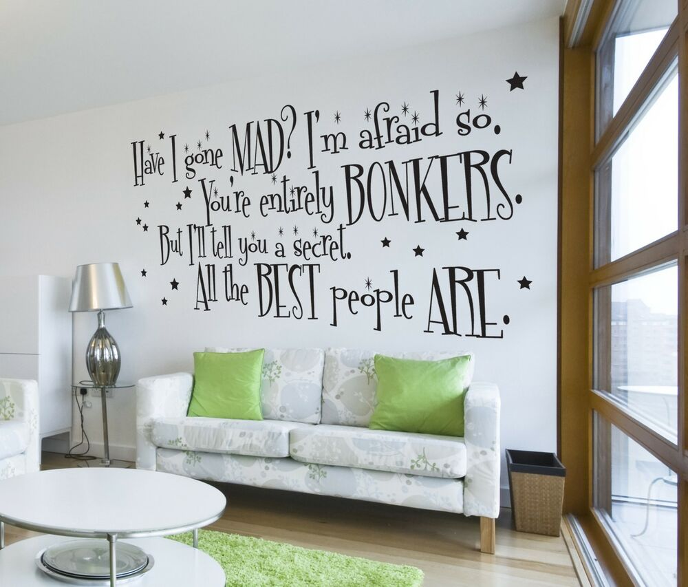 alice in wonderland mad hatter quote large wall sticker decal mural vinyl art ebay. Black Bedroom Furniture Sets. Home Design Ideas