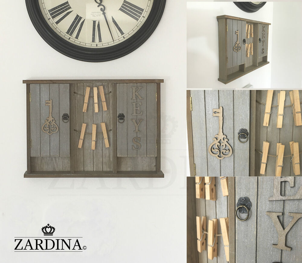 Vintage Shabby Chic Wooden Key Cabinet Storage Wall Mounted Box With Memo Pegs 3890762667156