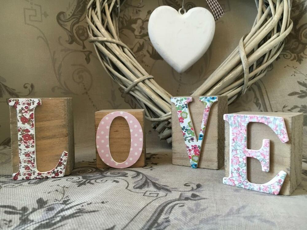 Vintage Shabby Chic Floral Wood LOVE Blocks Cubes Letters