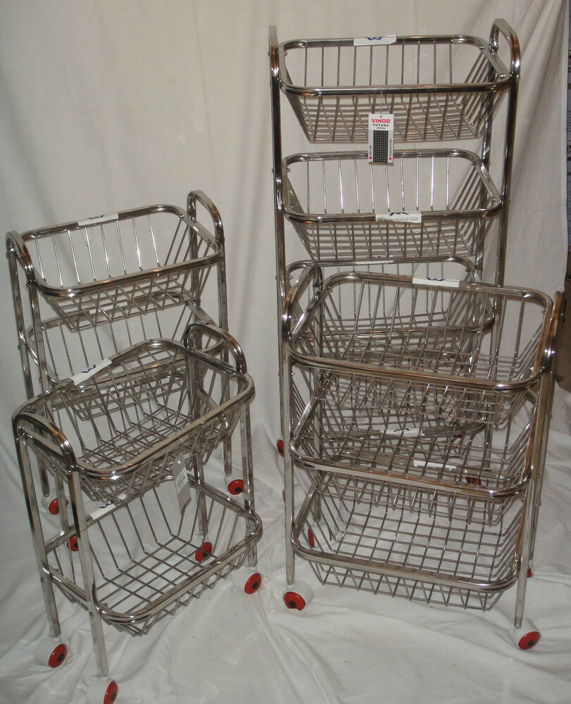 storage racks kitchen 2 3 4 tier stainless steel kitchen fruit vegetable trolley 2568