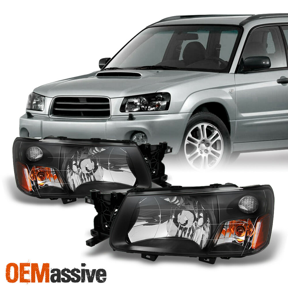 Details About Fit 2003 2004 Subaru Forester Sg Black Bezel Headlights Headlamps Replacement